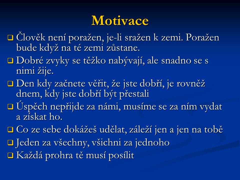 Motivace  Člověk není poražen, je-li sražen k zemi.