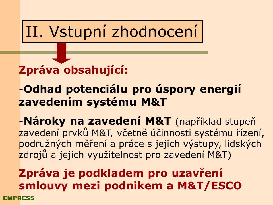 Kroky zavedení M&T/ESCO I. Vstupní informace Podniky vhodné pro zavedení M&T/ESCO -Roční náklady na energie > 10mil. Kč -Motivace podniku pro zvyšován
