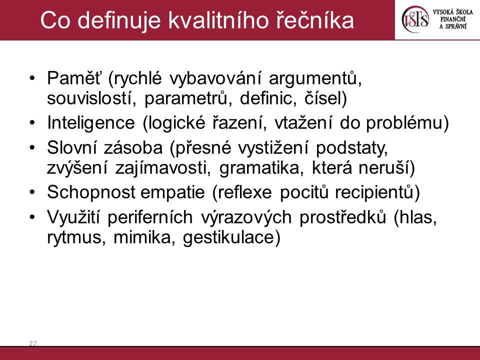 Paměť (rychlé vybavování argumentů, souvislostí, parametrů, definic, čísel) Inteligence (logické řazení, vtažení do problému) Slovní zásoba (přesné vy