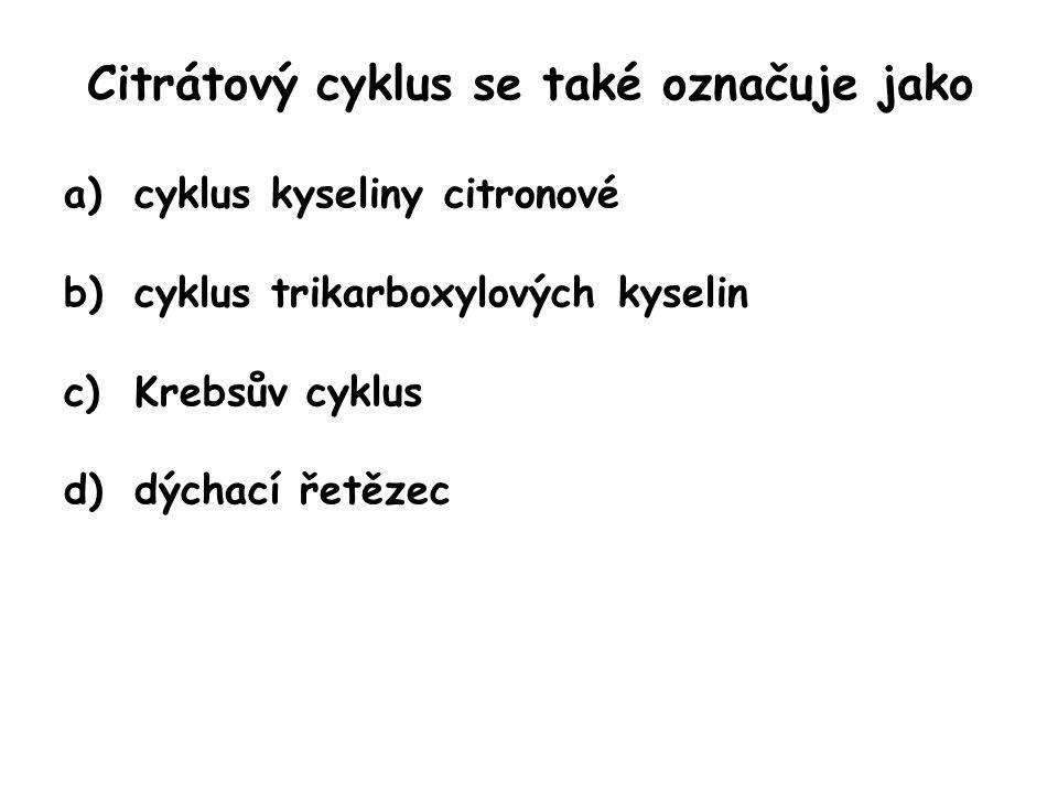Citrátový cyklus se také označuje jako a)cyklus kyseliny citronové b)cyklus trikarboxylových kyselin c)Krebsův cyklus d)dýchací řetězec