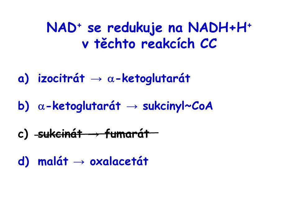 NAD + se redukuje na NADH+H + v těchto reakcích CC a)izocitrát →  -ketoglutarát b)  -ketoglutarát → sukcinyl~CoA c)sukcinát → fumarát d)malát → oxal