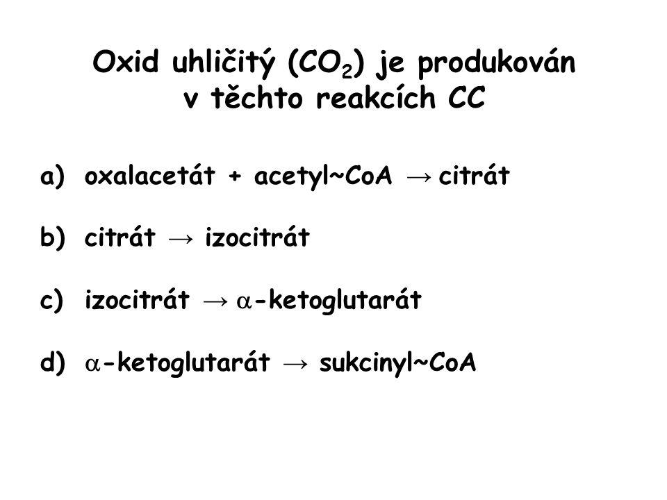 Oxid uhličitý (CO 2 ) je produkován v těchto reakcích CC a)oxalacetát + acetyl~CoA → citrát b)citrát → izocitrát c)izocitrát →  -ketoglutarát d)  -k
