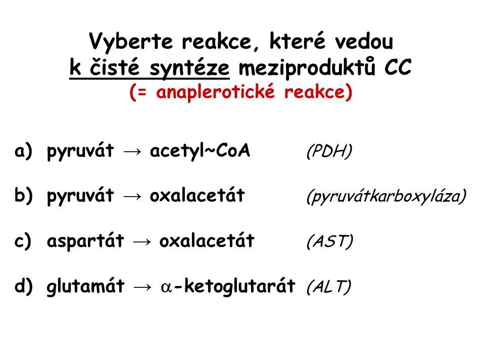 Vyberte reakce, které vedou k čisté syntéze meziproduktů CC (= anaplerotické reakce) a)pyruvát → acetyl~CoA (PDH) b)pyruvát → oxalacetát (pyruvátkarbo