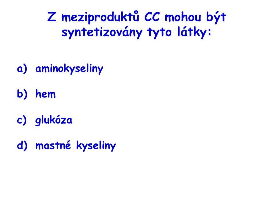 Z meziproduktů CC mohou být syntetizovány tyto látky: a)aminokyseliny b)hem c)glukóza d)mastné kyseliny