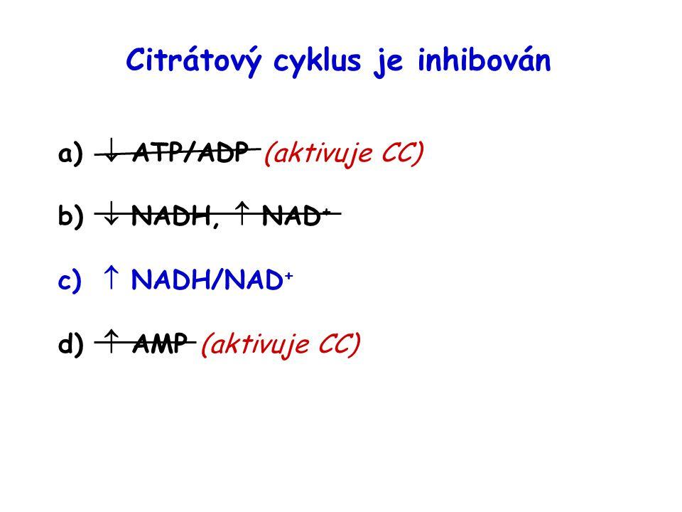 Citrátový cyklus je inhibován a)  ATP/ADP(aktivuje CC) b)  NADH,  NAD + c)  NADH/NAD + d)  AMP (aktivuje CC)