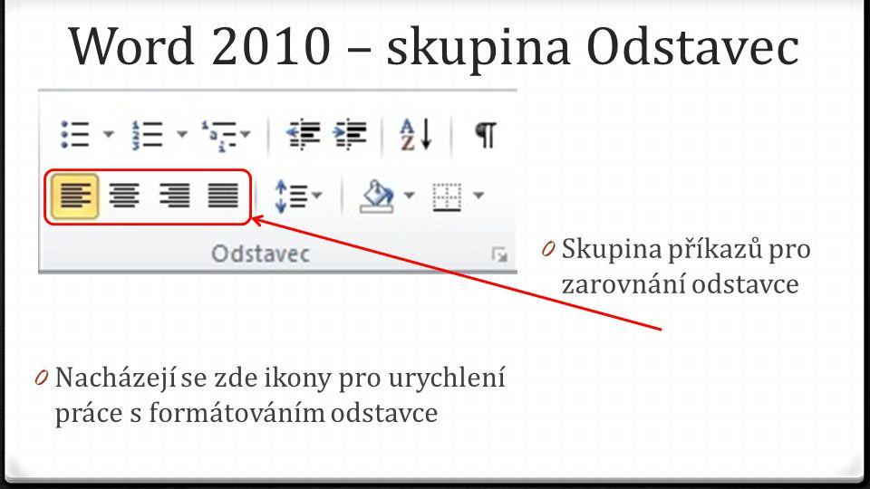 Word 2010 – skupina Odstavec 0 Skupina příkazů pro zarovnání odstavce 0 Nacházejí se zde ikony pro urychlení práce s formátováním odstavce