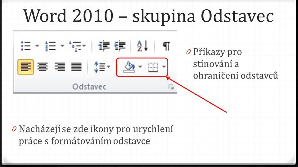 Word 2010 – skupina Odstavec 0 Příkazy pro vytváření seznamů a číslovaných seznamů 0 Nacházejí se zde ikony pro urychlení práce s formátováním odstavce