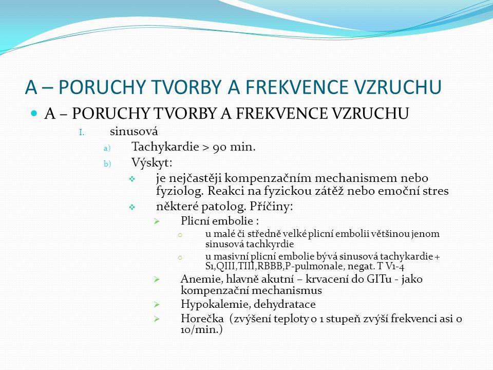 A – PORUCHY TVORBY A FREKVENCE VZRUCHU I. sinusová a) Tachykardie > 90 min. b) Výskyt:  je nejčastěji kompenzačním mechanismem nebo fyziolog. Reakci