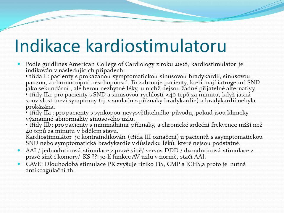 Indikace kardiostimulatoru Podle guidlines American College of Cardiology z roku 2008, kardiostimulátor je indikován v následujících připadech: třída