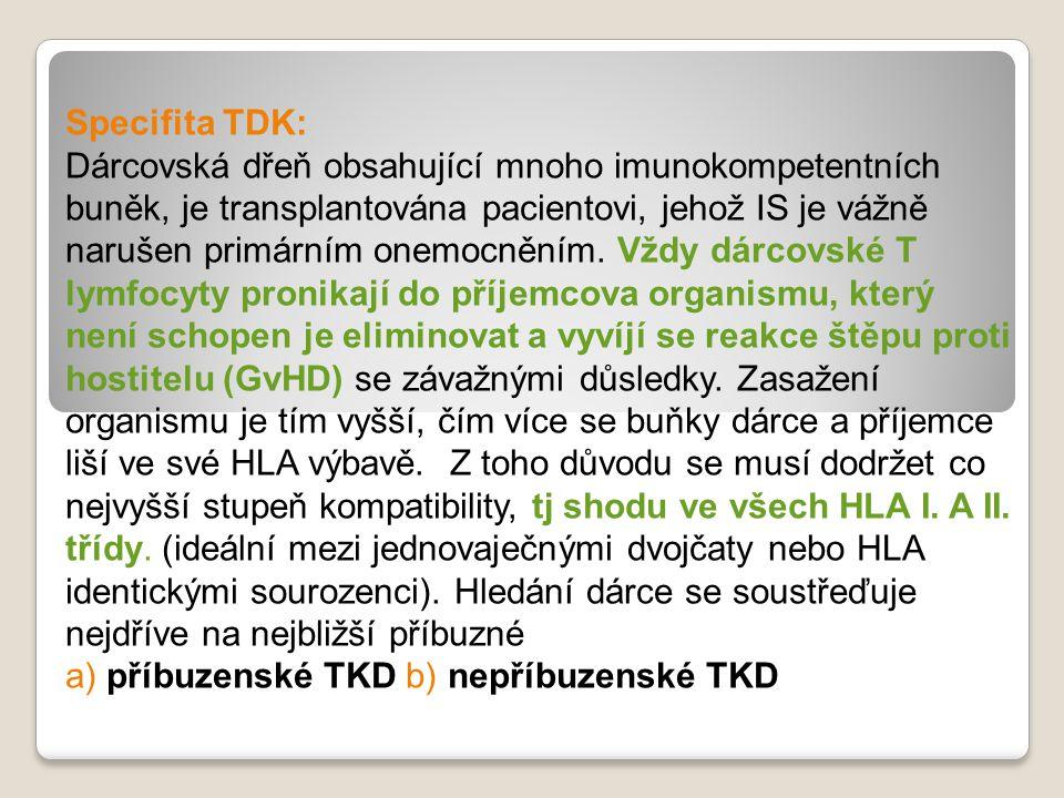 Specifita TDK: Dárcovská dřeň obsahující mnoho imunokompetentních buněk, je transplantována pacientovi, jehož IS je vážně narušen primárním onemocněním.