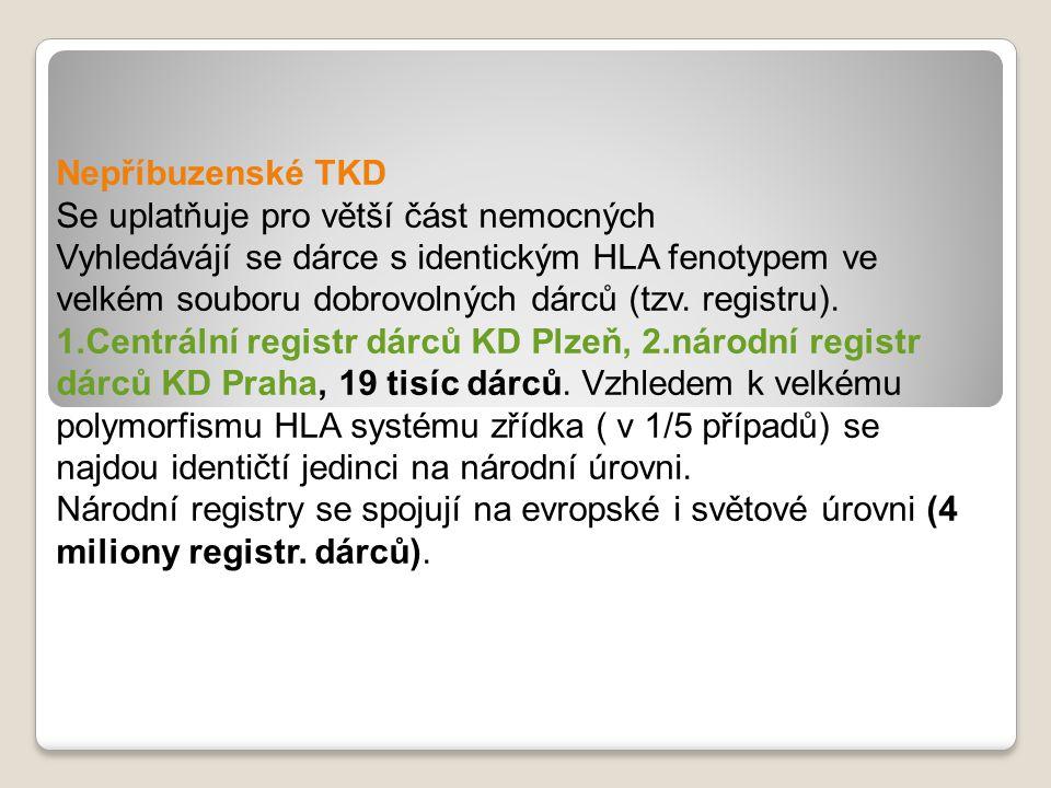 Nepříbuzenské TKD Se uplatňuje pro větší část nemocných Vyhledávájí se dárce s identickým HLA fenotypem ve velkém souboru dobrovolných dárců (tzv.