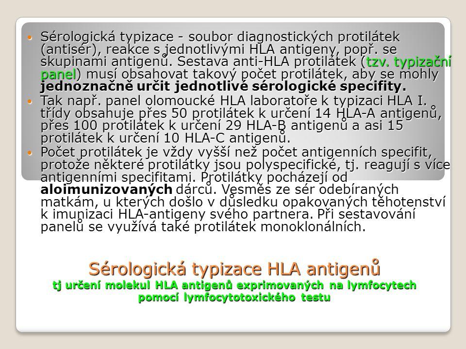 Sérologická typizace HLA antigenů tj určení molekul HLA antigenů exprimovaných na lymfocytech pomocí lymfocytotoxického testu Sérologická typizace - soubor diagnostických protilátek (antisér), reakce s jednotlivými HLA antigeny, popř.