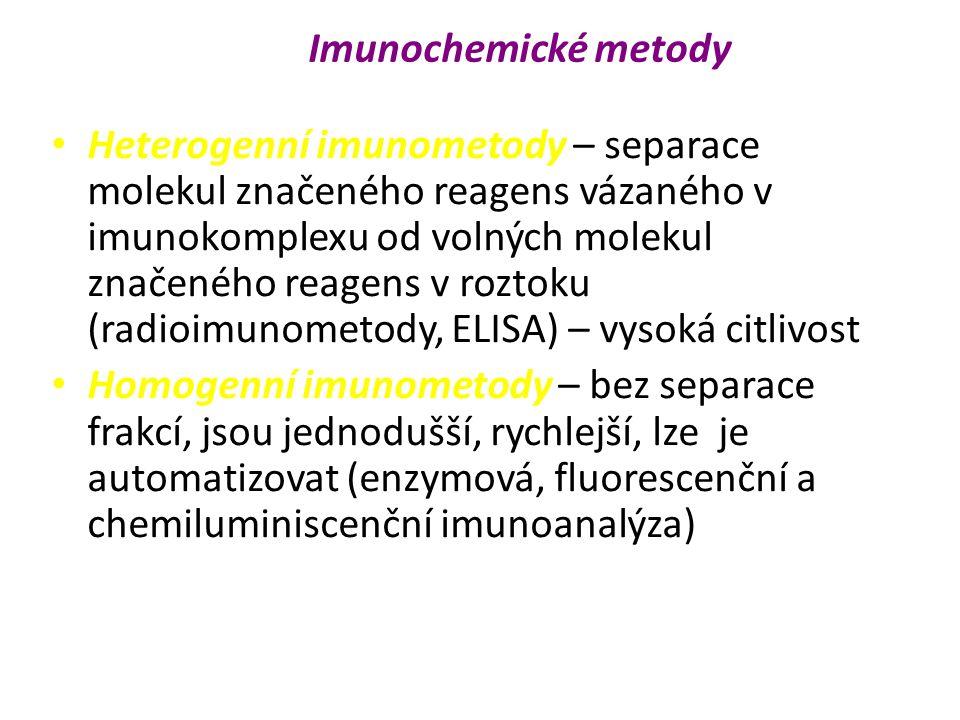 Heterogenní imunometody – separace molekul značeného reagens vázaného v imunokomplexu od volných molekul značeného reagens v roztoku (radioimunometody, ELISA) – vysoká citlivost Homogenní imunometody – bez separace frakcí, jsou jednodušší, rychlejší, lze je automatizovat (enzymová, fluorescenční a chemiluminiscenční imunoanalýza) Imunochemické metody