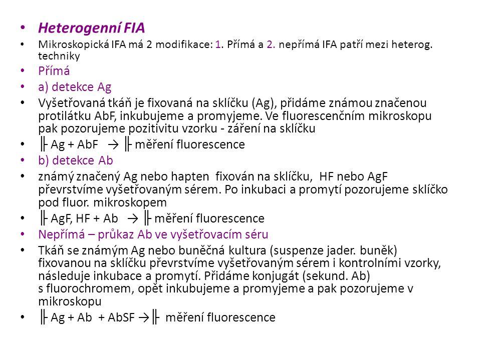 Heterogenní FIA Mikroskopická IFA má 2 modifikace: 1.