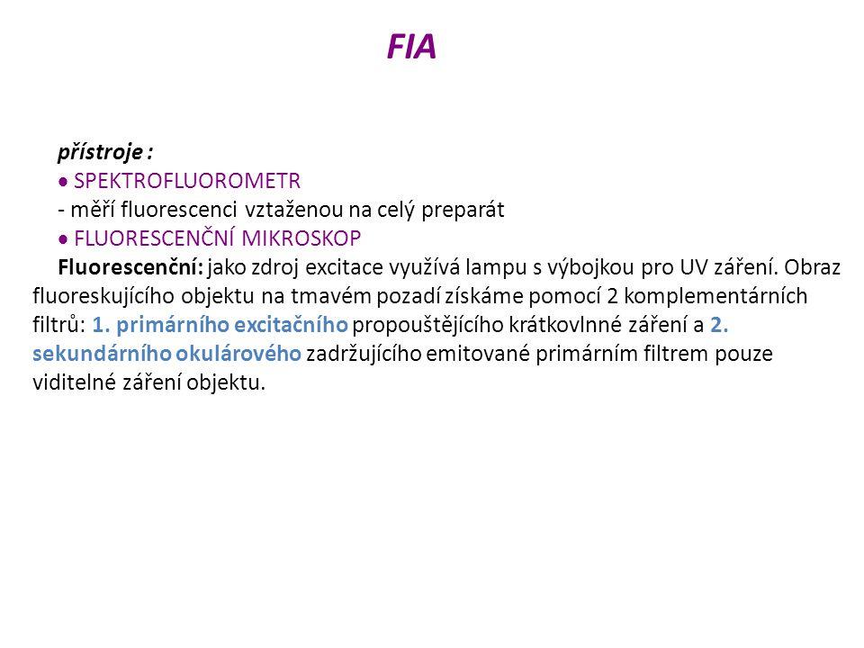 FIA přístroje :  SPEKTROFLUOROMETR - měří fluorescenci vztaženou na celý preparát  FLUORESCENČNÍ MIKROSKOP Fluorescenční: jako zdroj excitace využívá lampu s výbojkou pro UV záření.