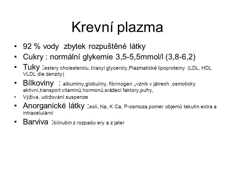 Krevní plazma 92 % vody zbytek rozpuštěné látky Cukry : normální glykemie 3,5-5,5mmol/l (3,8-6,2) Tuky : estery cholesterolu, triacyl glyceroly,Plazma