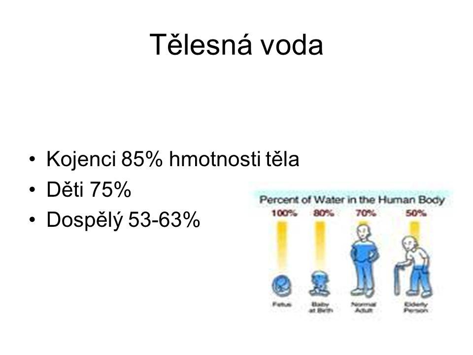Tělesná voda Kojenci 85% hmotnosti těla Děti 75% Dospělý 53-63%