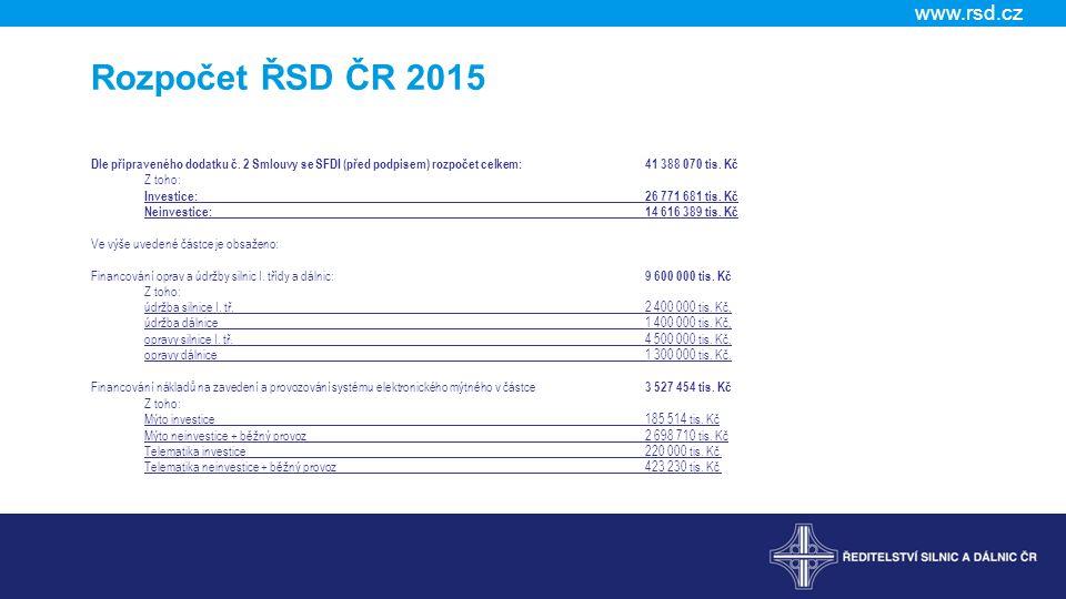 www.rsd.cz 7) Aktuální stav zadávacích řízení u nadlimitních projekčních zakázek významných staveb v ČR Jedná se o 40 zakázek (PD a TDI) v celkovém objemu 2 mld.
