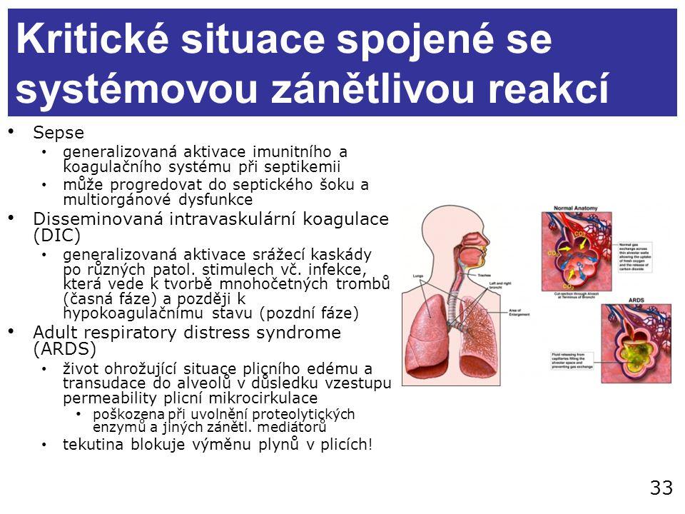 33 Kritické situace spojené se systémovou zánětlivou reakcí Sepse generalizovaná aktivace imunitního a koagulačního systému při septikemii může progre