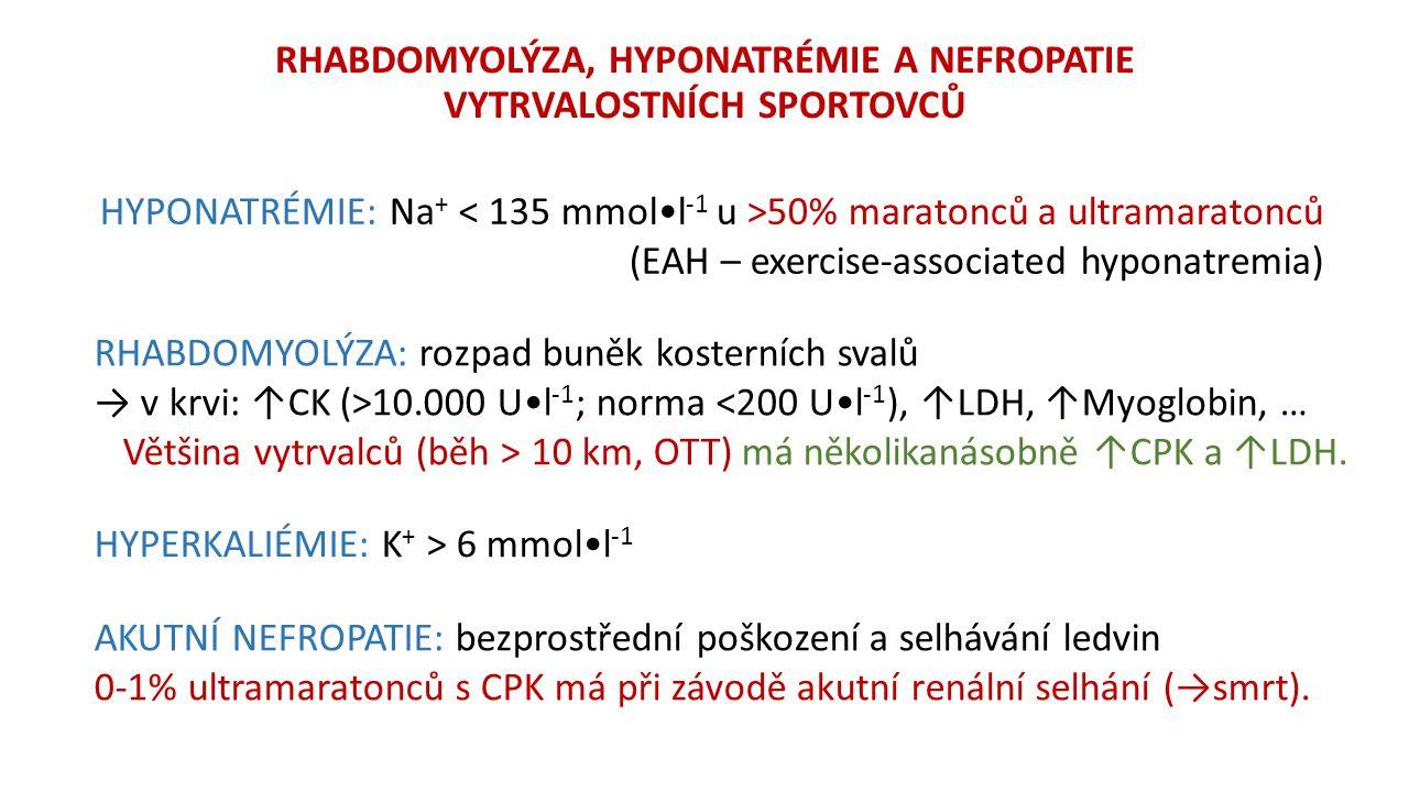 RHABDOMYOLÝZA, HYPONATRÉMIE A NEFROPATIE VYTRVALOSTNÍCH SPORTOVCŮ HYPONATRÉMIE: Na + 50% maratonců a ultramaratonců (EAH – exercise-associated hyponatremia) RHABDOMYOLÝZA: rozpad buněk kosterních svalů → v krvi: ↑CK (>10.000 Ul -1 ; norma <200 Ul -1 ), ↑LDH, ↑Myoglobin, … Většina vytrvalců (běh > 10 km, OTT) má několikanásobně ↑CPK a ↑LDH.