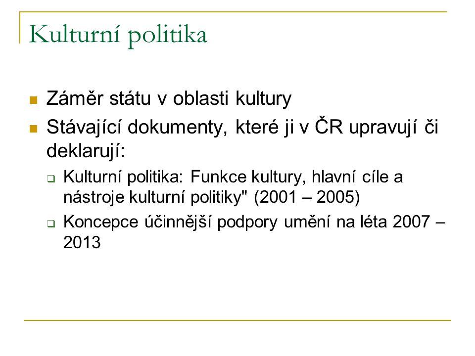 Kulturní politika Záměr státu v oblasti kultury Stávající dokumenty, které ji v ČR upravují či deklarují:  Kulturní politika: Funkce kultury, hlavní
