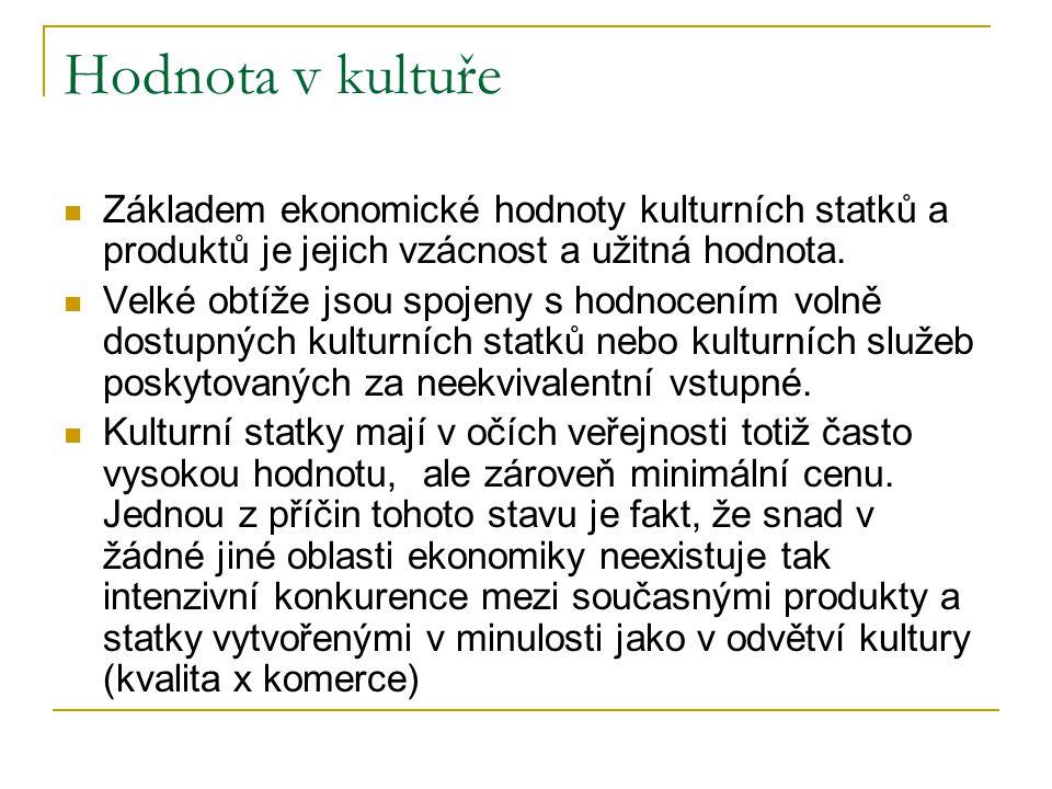 Hodnota v kultuře Základem ekonomické hodnoty kulturních statků a produktů je jejich vzácnost a užitná hodnota. Velké obtíže jsou spojeny s hodnocením