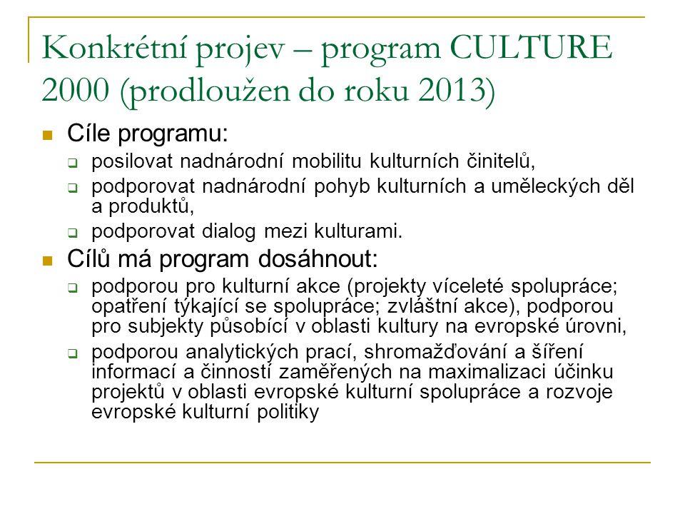 Konkrétní projev – program CULTURE 2000 (prodloužen do roku 2013) Cíle programu:  posilovat nadnárodní mobilitu kulturních činitelů,  podporovat nad