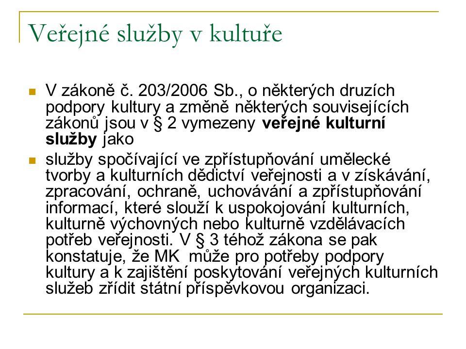 Veřejné služby v kultuře V zákoně č. 203/2006 Sb., o některých druzích podpory kultury a změně některých souvisejících zákonů jsou v § 2 vymezeny veře