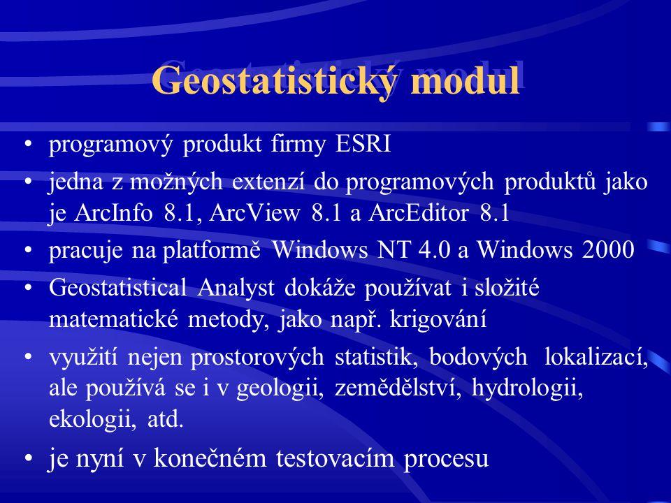 Geostatistický modul programový produkt firmy ESRI jedna z možných extenzí do programových produktů jako je ArcInfo 8.1, ArcView 8.1 a ArcEditor 8.1 p