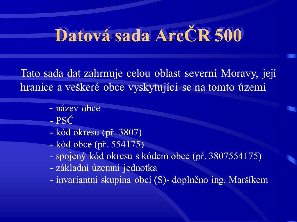 Datová sada ArcČR 500 Tato sada dat zahrnuje celou oblast severní Moravy, její hranice a veškeré obce vyskytující se na tomto území - název obce - PSČ