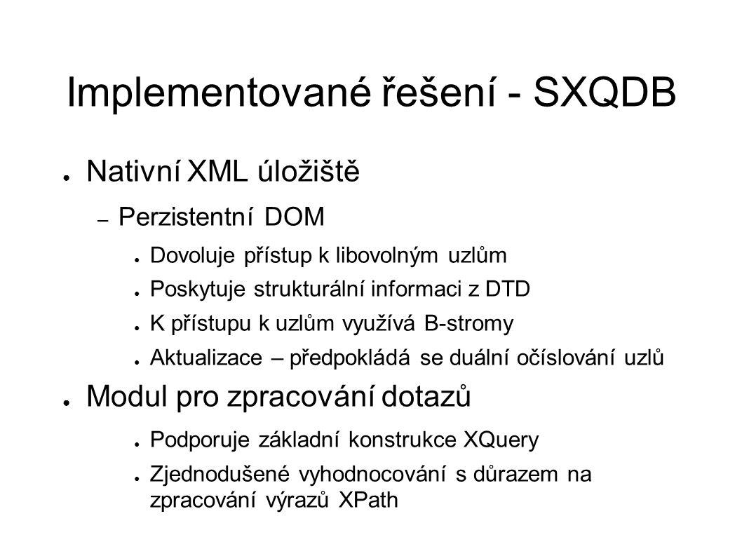Implementované řešení - SXQDB ● Nativní XML úložiště – Perzistentní DOM ● Dovoluje přístup k libovolným uzlům ● Poskytuje strukturální informaci z DTD ● K přístupu k uzlům využívá B-stromy ● Aktualizace – předpokládá se duální očíslování uzlů ● Modul pro zpracování dotazů ● Podporuje základní konstrukce XQuery ● Zjednodušené vyhodnocování s důrazem na zpracování výrazů XPath
