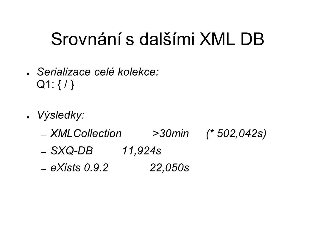 Srovnání s dalšími XML DB ● Serializace celé kolekce: Q1: { / } ● Výsledky: – XMLCollection >30min(* 502,042s) – SXQ-DB11,924s – eXists 0.9.222,050s