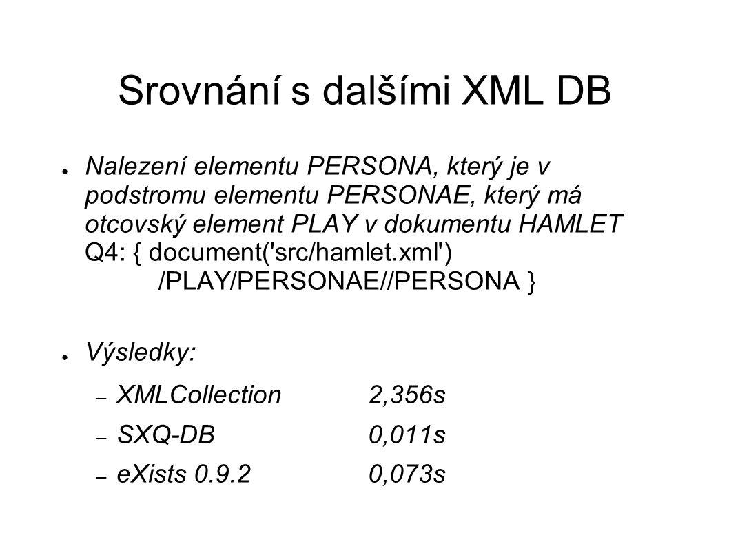 Srovnání s dalšími XML DB ● Nalezení elementu PERSONA, který je v podstromu elementu PERSONAE, který má otcovský element PLAY v dokumentu HAMLET Q4: { document( src/hamlet.xml ) /PLAY/PERSONAE//PERSONA } ● Výsledky: – XMLCollection2,356s – SXQ-DB0,011s – eXists 0.9.20,073s