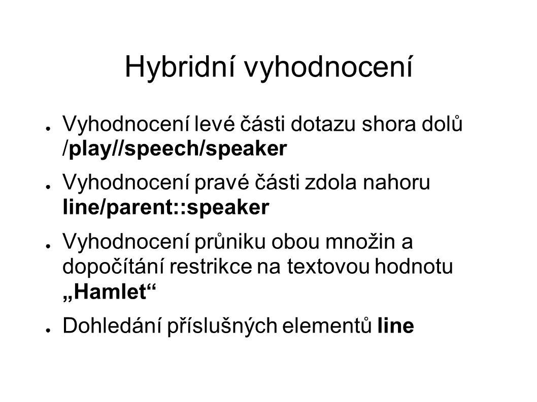 Hybridní vyhodnocení ● Vyhodnocení levé části dotazu shora dolů /play//speech/speaker ● Vyhodnocení pravé části zdola nahoru line/parent::speaker ● Vy