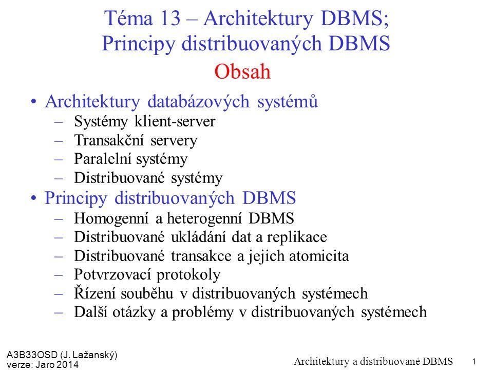 A3B33OSD (J. Lažanský) verze: Jaro 2014 Architektury a distribuované DBMS 1 Obsah Téma 13 – Architektury DBMS; Principy distribuovaných DBMS Architekt