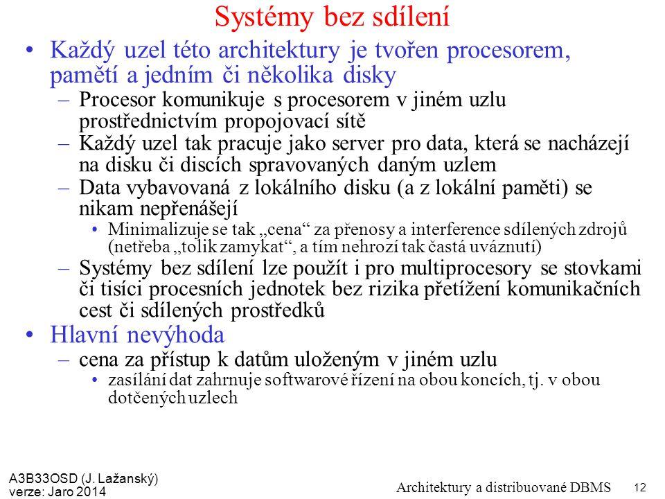 A3B33OSD (J. Lažanský) verze: Jaro 2014 Architektury a distribuované DBMS 12 Systémy bez sdílení Každý uzel této architektury je tvořen procesorem, pa
