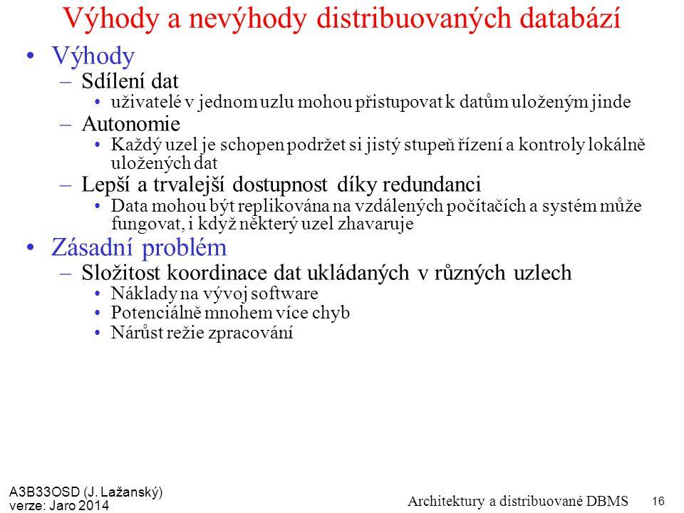 A3B33OSD (J. Lažanský) verze: Jaro 2014 Architektury a distribuované DBMS 16 Výhody a nevýhody distribuovaných databází Výhody –Sdílení dat uživatelé