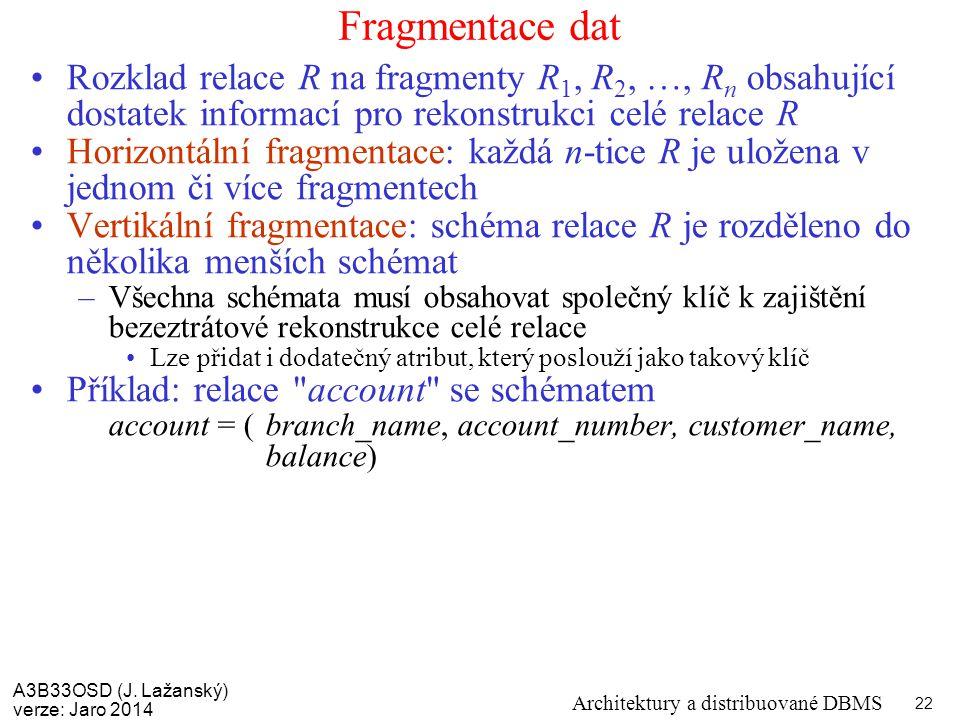 A3B33OSD (J. Lažanský) verze: Jaro 2014 Architektury a distribuované DBMS 22 Fragmentace dat Rozklad relace R na fragmenty R 1, R 2, …, R n obsahující