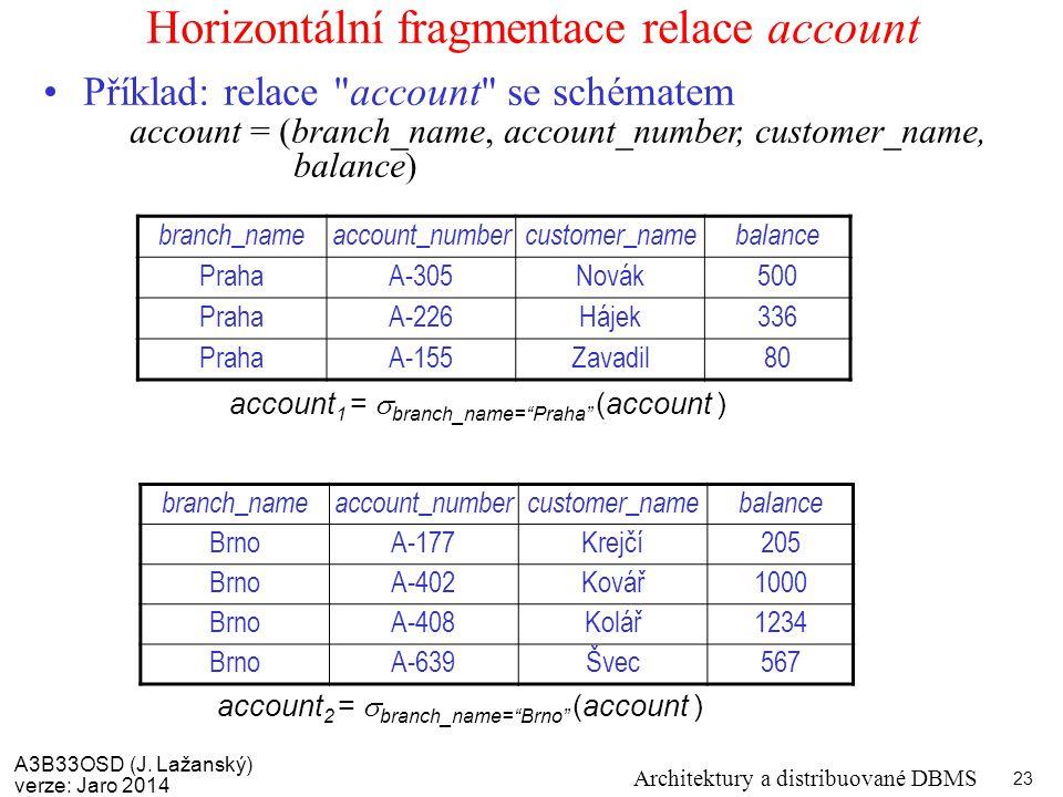 """A3B33OSD (J. Lažanský) verze: Jaro 2014 Architektury a distribuované DBMS 23 Horizontální fragmentace relace account account 1 =  branch_name=""""Praha"""""""