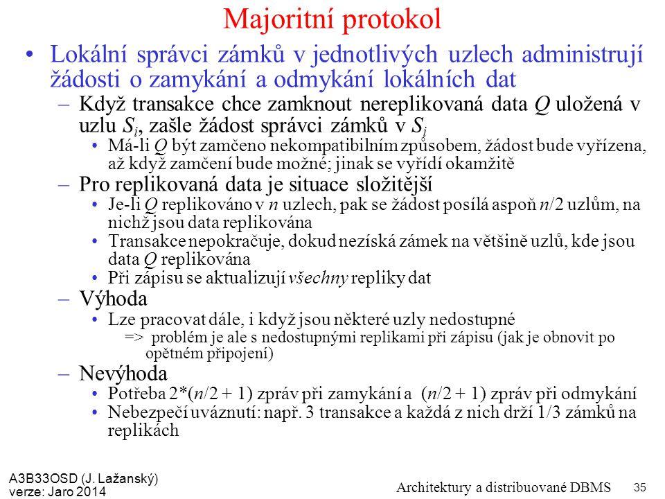 A3B33OSD (J. Lažanský) verze: Jaro 2014 Architektury a distribuované DBMS 35 Majoritní protokol Lokální správci zámků v jednotlivých uzlech administru