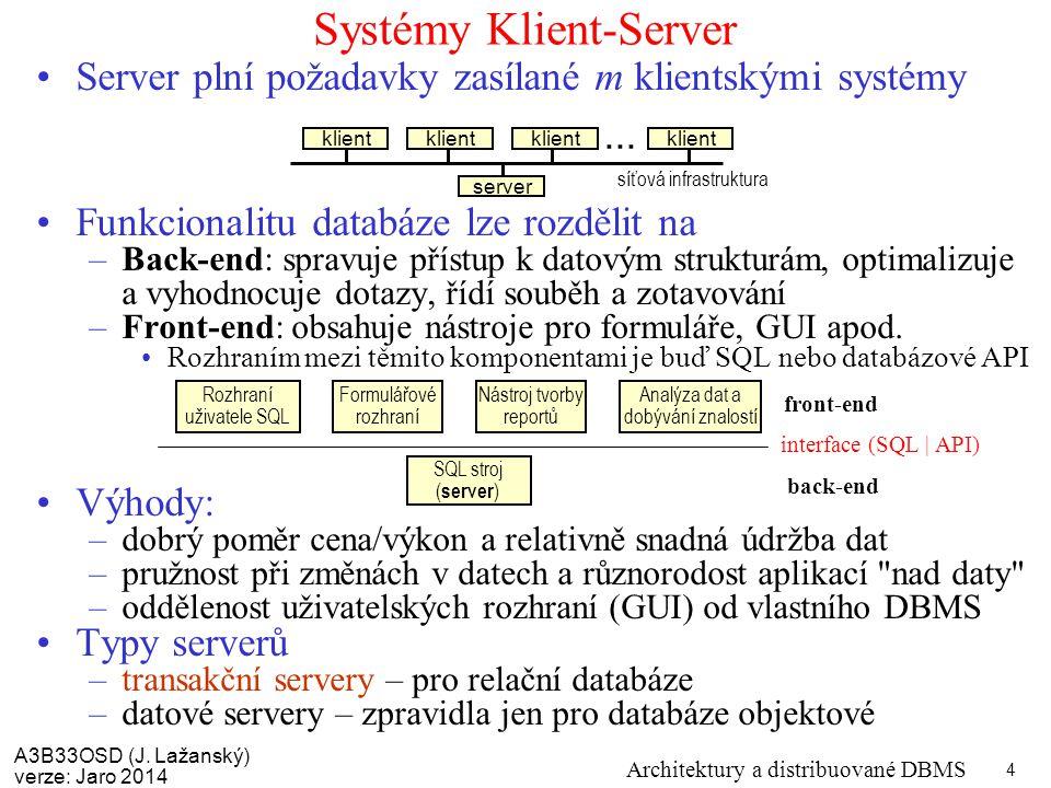 A3B33OSD (J. Lažanský) verze: Jaro 2014 Architektury a distribuované DBMS 4 Systémy Klient-Server Server plní požadavky zasílané m klientskými systémy