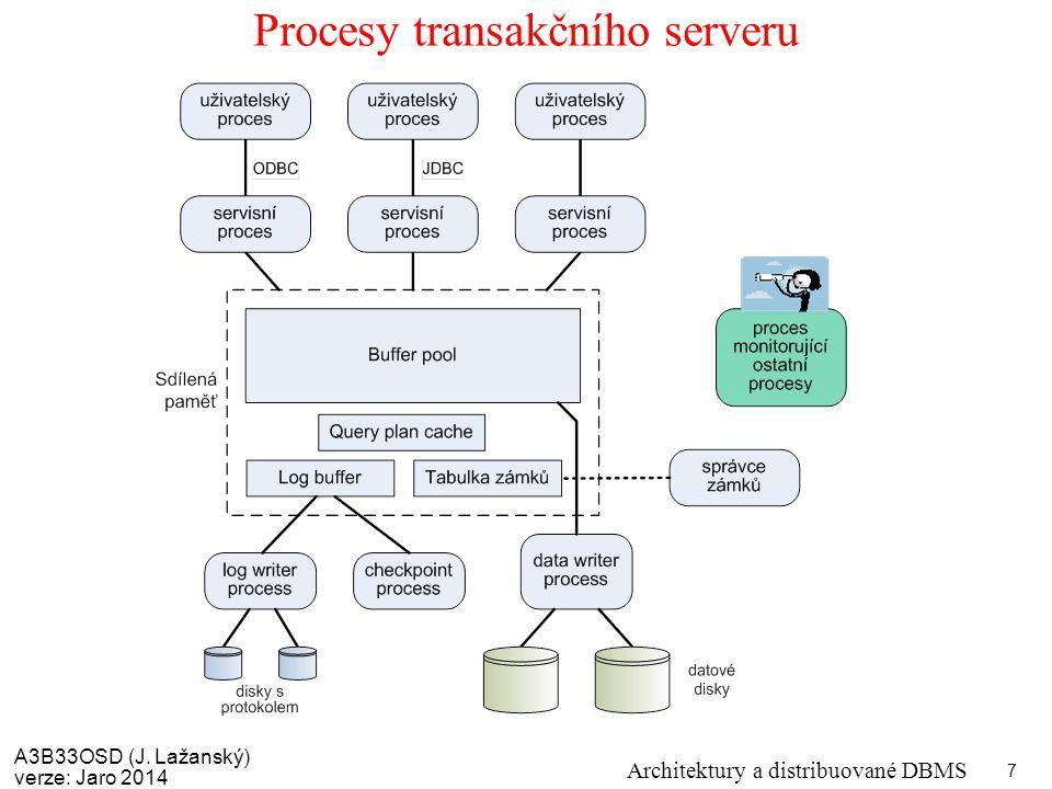 A3B33OSD (J. Lažanský) verze: Jaro 2014 Architektury a distribuované DBMS 7 Procesy transakčního serveru