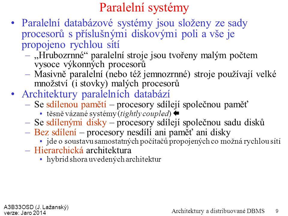 A3B33OSD (J. Lažanský) verze: Jaro 2014 Architektury a distribuované DBMS 9 Paralelní systémy Paralelní databázové systémy jsou složeny ze sady proces
