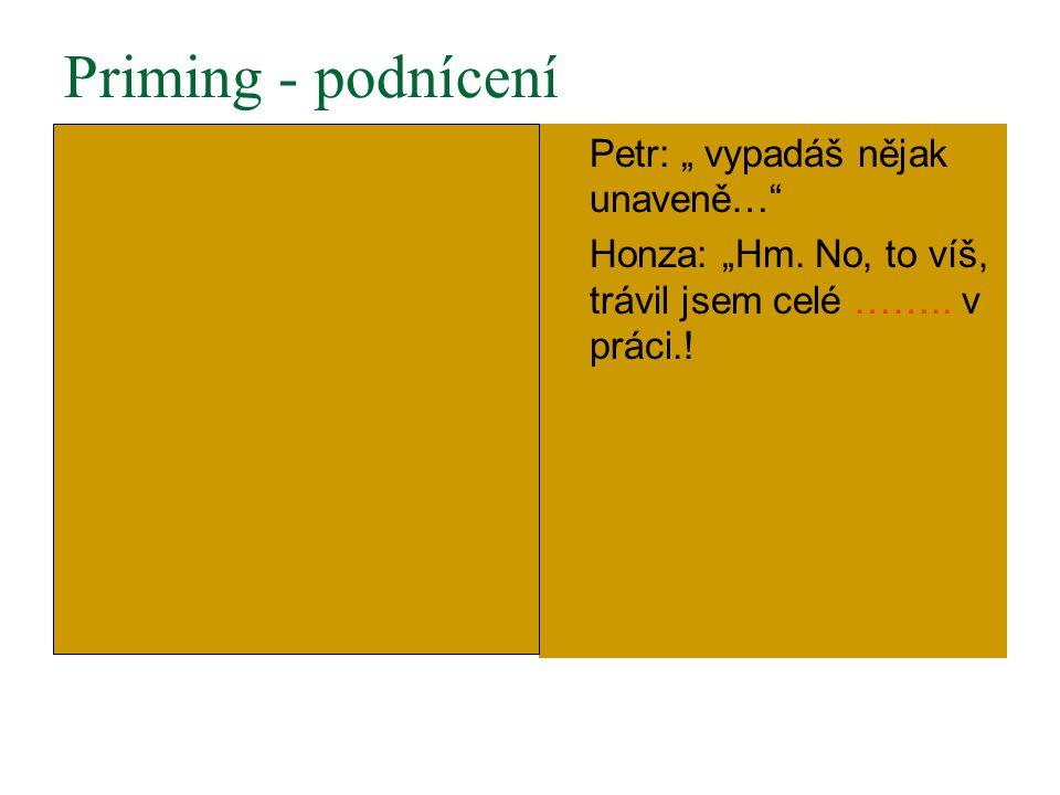 """Priming - podnícení Petr: """" vypadáš nějak unaveně… Honza: """"Hm."""