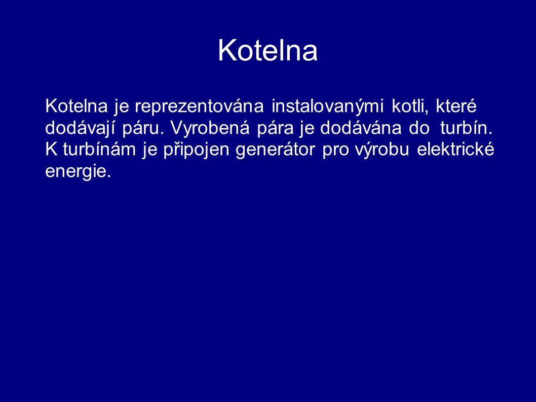 Kotelna Kotelna je reprezentována instalovanými kotli, které dodávají páru. Vyrobená pára je dodávána do turbín. K turbínám je připojen generátor pro