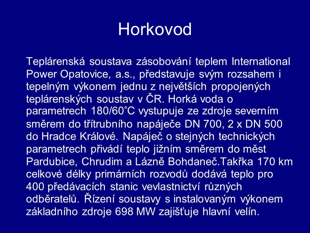 Horkovod Teplárenská soustava zásobování teplem International Power Opatovice, a.s., představuje svým rozsahem i tepelným výkonem jednu z největších propojených teplárenských soustav v ČR.