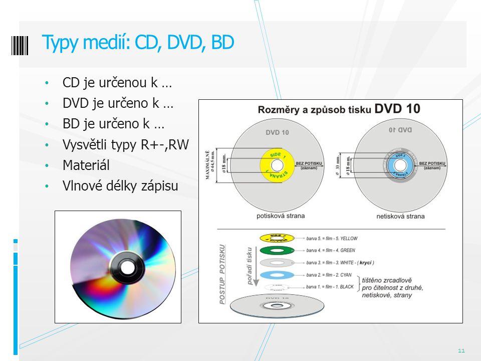 CD je určenou k … DVD je určeno k … BD je určeno k … Vysvětli typy R+-,RW Materiál Vlnové délky zápisu Typy medií: CD, DVD, BD 11
