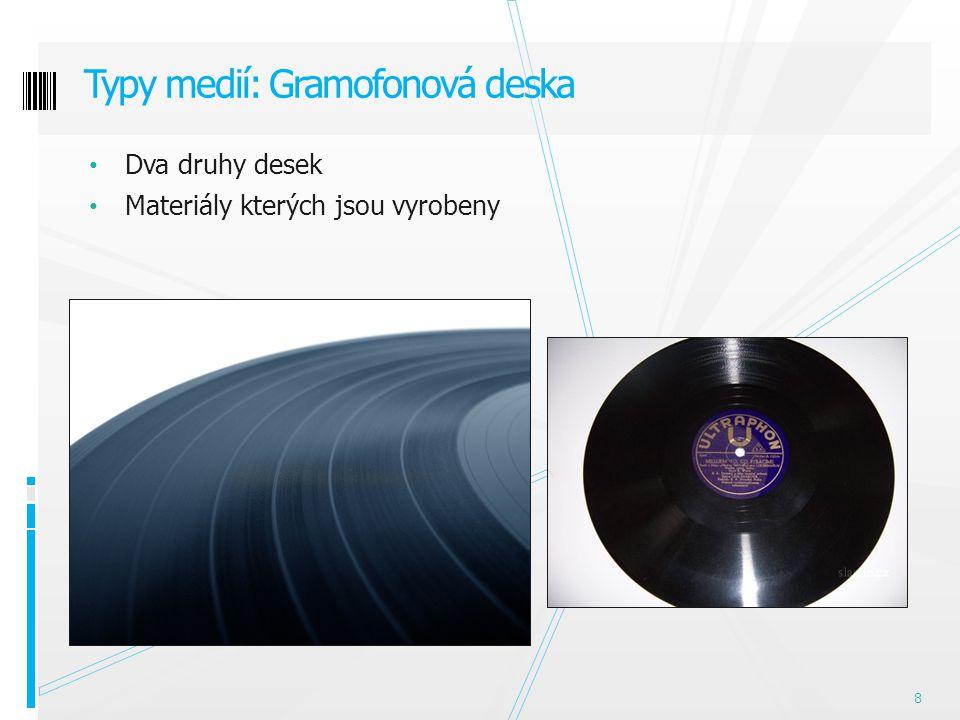 Dva druhy desek Materiály kterých jsou vyrobeny Typy medií: Gramofonová deska 8