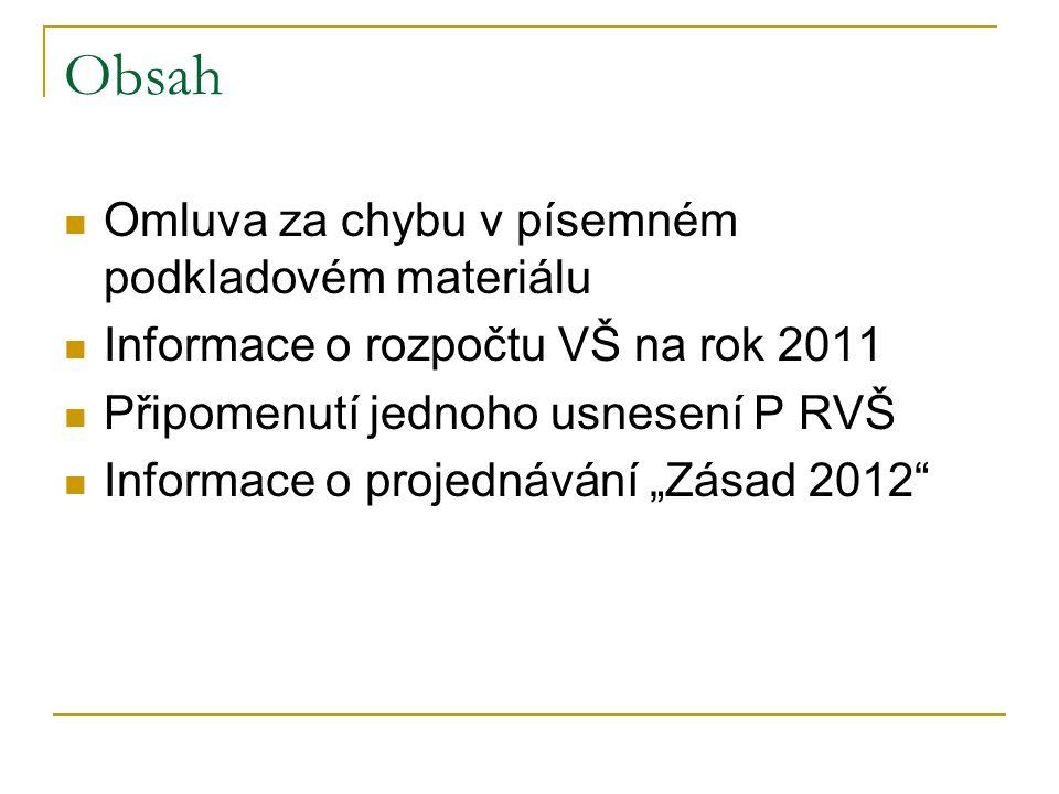 """Obsah Omluva za chybu v písemném podkladovém materiálu Informace o rozpočtu VŠ na rok 2011 Připomenutí jednoho usnesení P RVŠ Informace o projednávání """"Zásad 2012"""