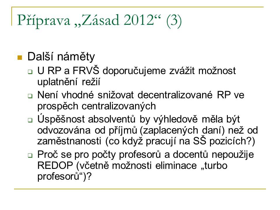 """Příprava """"Zásad 2012 (3) Další náměty  U RP a FRVŠ doporučujeme zvážit možnost uplatnění režií  Není vhodné snižovat decentralizované RP ve prospěch centralizovaných  Úspěšnost absolventů by výhledově měla být odvozována od příjmů (zaplacených daní) než od zaměstnanosti (co když pracují na SŠ pozicích )  Proč se pro počty profesorů a docentů nepoužije REDOP (včetně možnosti eliminace """"turbo profesorů )"""